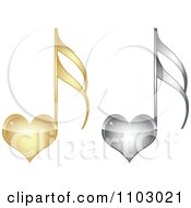 Clipart Gold And Silver Heart Love Music Notes Royalty Free Vector Illustration