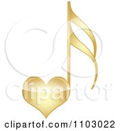 Clipart Shiny Gold Heart Love Music Note Royalty Free Vector Illustration