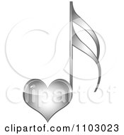 Clipart Shiny Silver Heart Love Music Note Royalty Free Vector Illustration