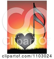 Clipart Shiny Black Heart Love Music Note Against A Sunset Royalty Free Vector Illustration by Andrei Marincas