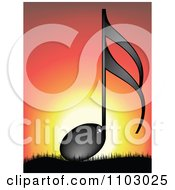 Clipart Shiny Black Music Note Against A Sunset Royalty Free Vector Illustration by Andrei Marincas