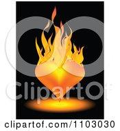 Clipart 3d Orange Heart On Fire Over Black Royalty Free Vector Illustration