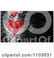 Valentines Day Background Of Two Red Hearts Grunge And Scratches On Black