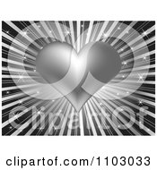 Clipart Valentines Day Background Of A Silver Heart Over Sparkly Rays Royalty Free Vector Illustration