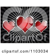 Clipart Shiny Red And Silver Love Or Poker Hearts On Rays Royalty Free Vector Illustration by Andrei Marincas
