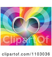 Clipart Valentines Day Background Of A Transparent Heart Over Rainbow Waves Royalty Free Vector Illustration