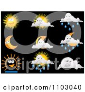Clipart Happy Weather Icons On Black Royalty Free Vector Illustration by Andrei Marincas