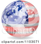 Clipart Reflective American Globe With Stars And Stripes Royalty Free Vector Illustration