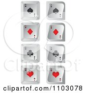 Clipart 3d Black And Red Poker Spades Diamonds Clubs And Hearts On Keyboard Buttons Royalty Free Vector Illustration