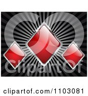 Clipart Shiny Red And Silver Rhombus Or Poker Diamonds On Rays Royalty Free Vector Illustration