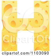 Clipart Capital Cheese Letter H Royalty Free Vector Illustration