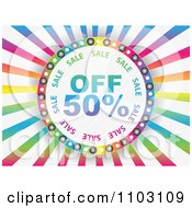 Clipart Fifty Percent Off Circle On Colorful Rays Royalty Free Vector Illustration by Andrei Marincas