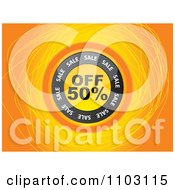 Clipart Round Fifty Percent Off Circle Over Scribbles On Orange Royalty Free Vector Illustration by Andrei Marincas