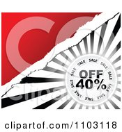Clipart Forty Percent Off Sale Circle Over Rays With Torn Paper And Red Royalty Free Vector Illustration by Andrei Marincas