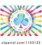Clipart Clover Or Poker Clubs On Colorful Rays Royalty Free Vector Illustration