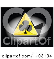 Clipart Yellow Clover Or Poker Club Triangle In Light On Black Royalty Free Vector Illustration