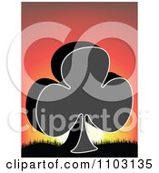Clipart Clover Or Poker Club Against A Sunset Royalty Free Vector Illustration