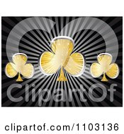 Clipart Shiny Gold And Silver Clover Or Poker Clubs On Rays Royalty Free Vector Illustration