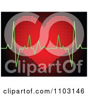 Clipart Green Beat Graph Over A Pixelated Heart Made Of Dots Royalty Free Vector Illustration