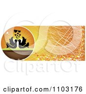 Clipart Grungy Orange Silhouetted Birds With A Heart Sunset Website Banner 1 Royalty Free Vector Illustration