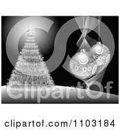 Clipart Black And Silver Christmas Tree And 3d Bauble Background Royalty Free Vector Illustration by Andrei Marincas