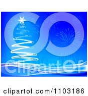 Clipart White Scribble Christmas Tree With Fireworks On Blue Background Royalty Free Vector Illustration by Andrei Marincas