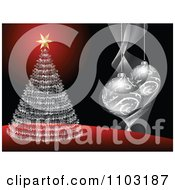 Clipart Red Black And Silver Christmas Tree And 3d Bauble Background Royalty Free Vector Illustration by Andrei Marincas