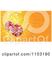 Clipart 3d Red Swirl Christmas Baubles On Orange With Scribbles And Dots Royalty Free Vector Illustration by Andrei Marincas