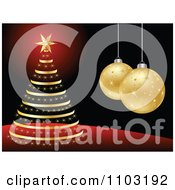 Clipart Red Black And Gold Christmas Tree And 3d Bauble Background 2 Royalty Free Vector Illustration by Andrei Marincas