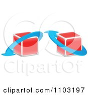 Clipart 3d Red Cubes With Blue Arrows Royalty Free Vector Illustration by Andrei Marincas