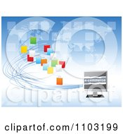 Clipart Colorful Shopping Bags Connected To An E Commerce Computer Screen Over A World Map Royalty Free Vector Illustration by Andrei Marincas