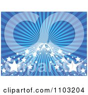Clipart Blue Ray Background With Mesh Waves And Stars Royalty Free Vector Illustration