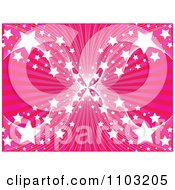 Clipart Pink Ray Background With Mesh Waves And Stars Royalty Free Vector Illustration by Andrei Marincas