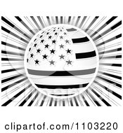 Clipart Black And White American Stars And Stripes Globe Over Rays Royalty Free Vector Illustration