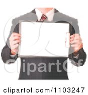 Clipart Pixelated Business Man Holding A Clipboard Made Of Dots Royalty Free Vector Illustration