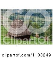 Clipart Pixelated Mountainous Farm Hut Made Of Dots Royalty Free Vector Illustration by Andrei Marincas
