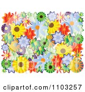 Clipart Colorful Flowers On White Royalty Free Vector Illustration by Andrei Marincas