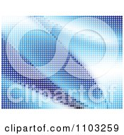 Clipart Background Of Blue Halftone Dot Waves Royalty Free Vector Illustration