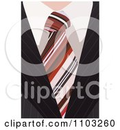 Clipart Closeup Of A Business Mans Striped Tie And Pinstripe Suit Royalty Free Vector Illustration