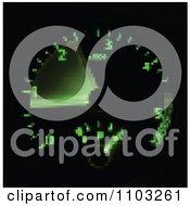 Blurred Pixelated Green Illuminated Car Speedometer On Black