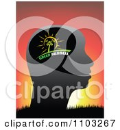 Clipart Profiled Green Business Head Against A Sunset Royalty Free Vector Illustration by Andrei Marincas