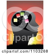 Clipart Profiled Head With Memos Against A Sunset Royalty Free Vector Illustration by Andrei Marincas
