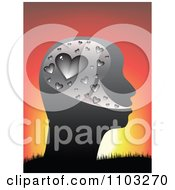 Clipart Profiled Head With Silver Hearts Against A Sunset Royalty Free Vector Illustration by Andrei Marincas