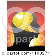 Clipart Profiled Head With Rays And A Heart Against A Sunset Royalty Free Vector Illustration by Andrei Marincas