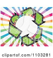 Clipart Grid Circle With Recycle Arrows And Colorful Rays Royalty Free Vector Illustration