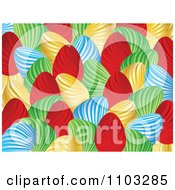 Clipart Blue Red Green And Gold Easter Egg Background Pattern Royalty Free Vector Illustration by Andrei Marincas