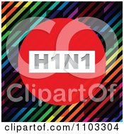 Clipart H1N1 Swine Flu Circle Over Diagonal Stripes And Tiles Royalty Free Vector Illustration