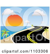 Clipart Curvy Coastal Road Along A Tropical Beach At Sunset Royalty Free Vector Illustration