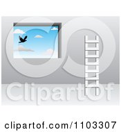 Clipart Ladder Against A Wall With A Window Looking Out At A Bird In The Sky Royalty Free Vector Illustration by Andrei Marincas