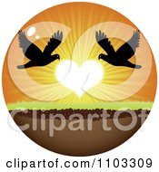 Clipart Circle Of Silhouetted Birds With A Heart Sunset Royalty Free Vector Illustration